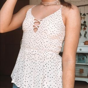 Smocked polka dot tank top